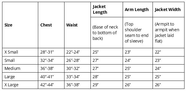 HyVIZ Waterproof Riding Jacket  size chart