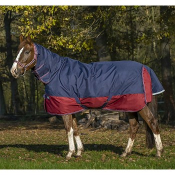 Equitheme Tyrex 1200D 350g Navy/Burgungy Heavyweight Combo Turnout Rug