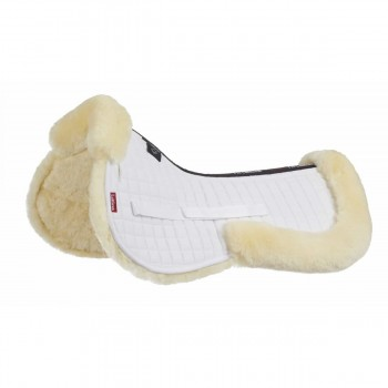 LeMieux ProLambskin White Fabric/Natural Wool Half Pad