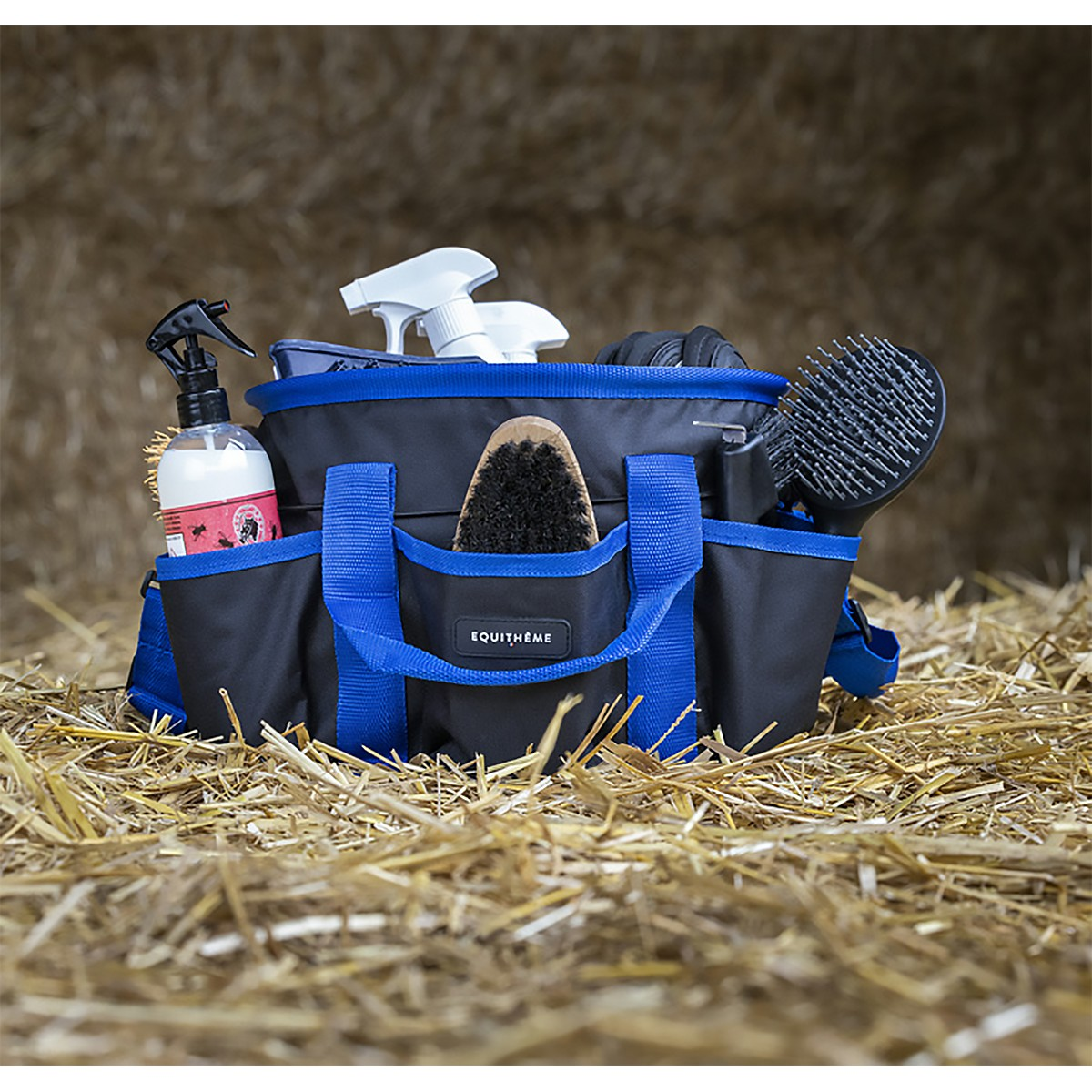 Equitheme Black & Blue Multi Pocket Grooming Kit Bag