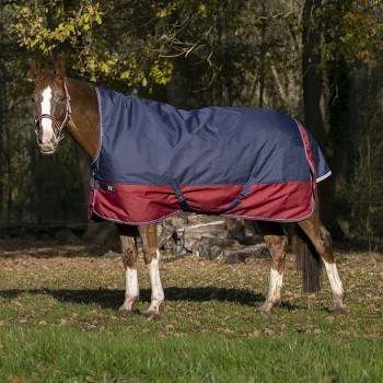 Equitheme Tyrex 1200D High Neck Lightweight Navy/Burgundy Turnout Rug