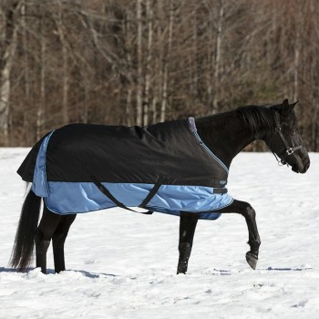 Equitheme Tyrex 600D 300g Black/Light Blue Heavyweight Turnout Rug