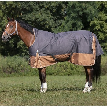 Equitheme Tyrex 600D Lightweight High Neck Aisance Grey/Brown Turnout Rug