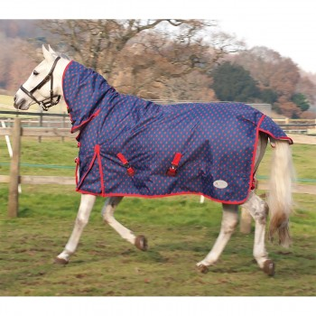 Rhinegold Torrent Lightweight Combo Navy/Red Spot Turnout Rug